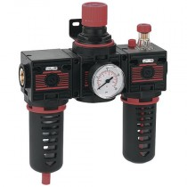 """3/8"""" BSPP Semi-Auto Filter + Regulator + Lubricator, Fully Assembled Combination with 0-10 bar Pressure Gauge & Mounting Bracket"""