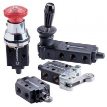 """Red - 1/8"""" 3/2 Button (Shrouded)/Spring Manual Super X Actuated In-Line"""