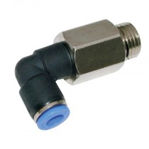 """4mm x 1/8"""" BSPP Plastic Push-In, Extended Male Stud Swivel Elbow"""