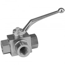 """3/4"""" BSPP 4 Way, DIN/ISO 228 T Porting Hydraulic Ball Valve"""