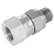 """1/8"""" x 3/8"""" BSPP Male 60° Cone DIN 3852 Form A x BSPP Swivel Female 60° Cone, Male/Female Swivel Adaptor"""