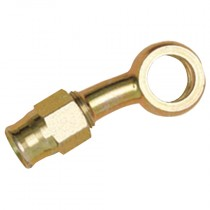 """Zinc Plated Carbon Steel Straight 3/8"""" UNF x 24, 10mm, 20° Side Extended Banjo Coupling for 600 Hose"""
