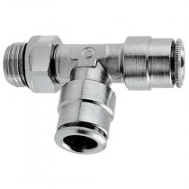4mm x M5 Swivel Run Tee Parallel with O-Ring, Super-Rapid Push-In