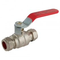 22mm Pro-Comp - Red Lever Handle, Brass Compression Ball Valve