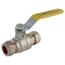 22mm Pro-Comp - Yellow Lever Handle, Brass Compression Ball Valve