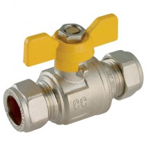 22mm Pro-Comp - Yellow Butterfly Handle, Brass Compression Ball Valve