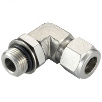 """3/8"""" x 9/16""""-18 Positionable Elbow, Male Thread, SAE/MS, Twin Ferrule Fitting"""