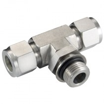 """3/8"""" x 9/16""""-18 Male Positionable Branch Tee, SAE/MS, Twin Ferrule Fitting"""
