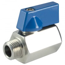 "3/8"" BSPP Hexagon Profile Male x Female, 316 Stainless Steel Mini Ball Valve"