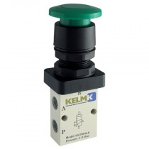 """1/8"""" BSPP Red Palm Button Manual 3/2 Way Valves"""