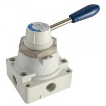 """1/4"""" BSPP Lever/Lever/Lever (Fully Sealed Mid Position) Manual 4/3 Way Valves"""