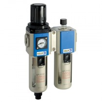 """1/4"""" BSPP Semi-Auto Drains, supplied with Mounting Bracket & 10 bar Gauge 300 Series Filter/Regulator + Lubricator Combination Units"""