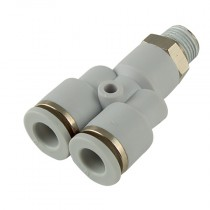6mm x M5 BSPP Plastic Push-In 16 bar Rated, Male Stud Swivel Y