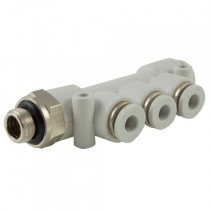 """10mm x 8mm x 3/8"""" BSPP Tube x Male Plastic Push-In 16 bar Rated Distribution Manifold"""