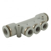8mm x 6mm BSPP Tube x Tube Plastic Push-In 16 bar Rated Distribution Manifold