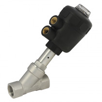 """1.1/4"""" BSPP 2 Way 63mm Actuator Normally Closed, 316 S/Steel Pilot Operated Angle Seat Valve, PA Nylon Actuator"""