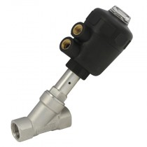 """1"""" BSPP 2 Way 63mm Actuator Normally Open, 316 S/Steel Pilot Operated Angle Seat Valve, PA Nylon Actuator"""