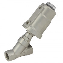 """3/8"""" BSPP 2 Way 63mm Actuator Normally Open, 316 S/Steel Pilot Operated Angle Seat Valve, S/Steel Actuator"""
