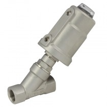 """1.1/2"""" BSPP 2 Way 63mm Actuator Normally Open, 316 S/Steel Pilot Operated Angle Seat Valve, S/Steel Actuator"""