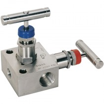 """1/2"""" NPT Pipe to Pipe, 2 Valve, Stainless Steel  Manifold Valve"""