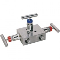 """1/2"""" NPT Pipe to Pipe, 3 Valve, Stainless Steel  Manifold Valve"""